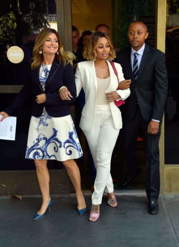 LOS ANGELES, CA - JULY 10:  (L-R) Lisa Bloom, Blac Chyna and Walter Mosley attend a pre-court hearing press conference at Los Angeles Superior Court on July 10, 2017 in Los Angeles, California.  (Photo by Matt Winkelmeyer/Getty Images)