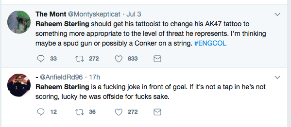Some of the Abuse of Raheem Sterling